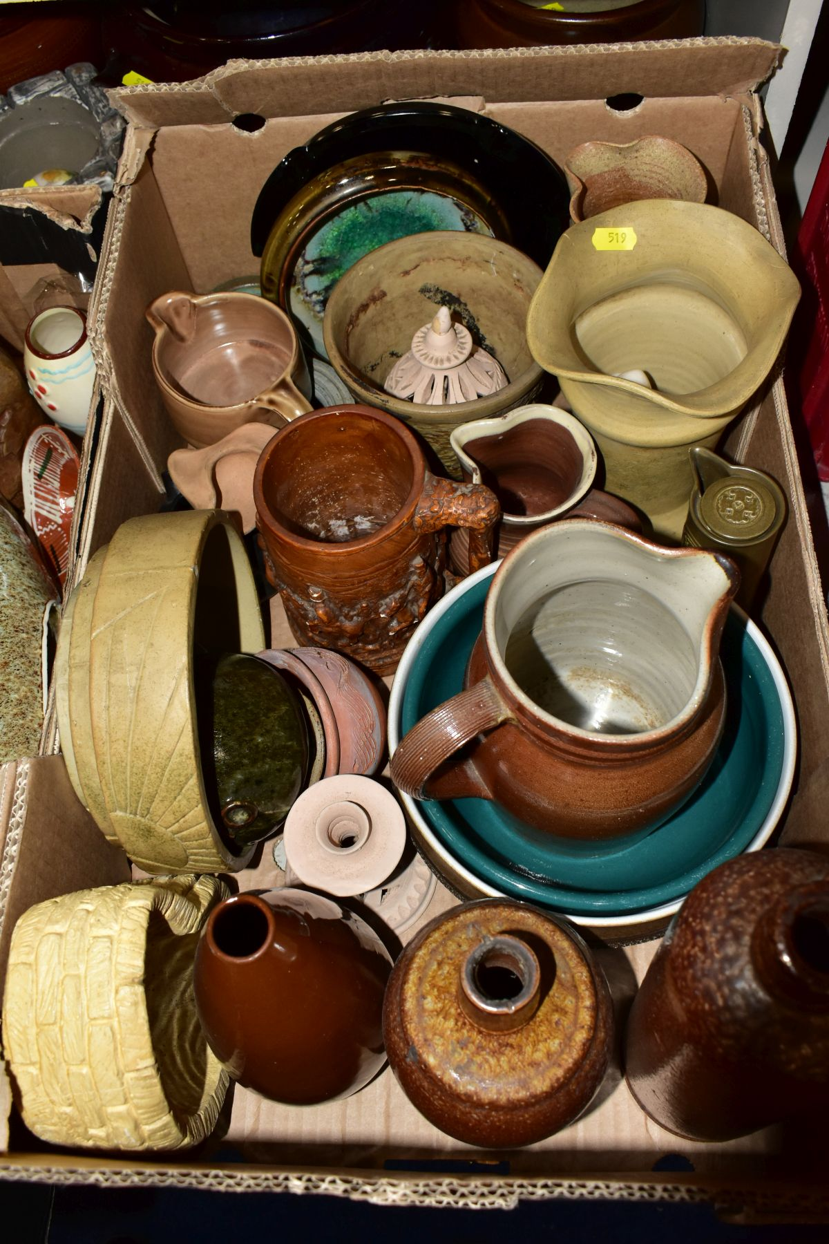 TWO BOXES AND LOOSE STONEWARE etc, including Hillstonia, Studio pottery, stoneware jugs and flagons, - Image 2 of 8