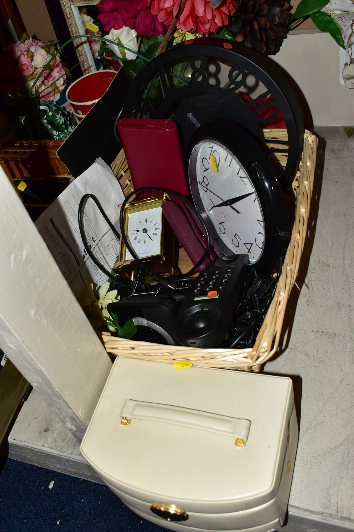 TWO BOXES AND A BASKET OF METALWARE, SUNDRIES, PICTURE FRAMES, ETC, to include various clocks (two - Image 3 of 10