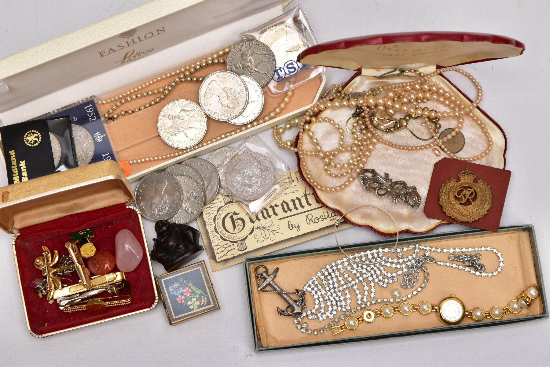 A BOX OF ASSORTED ITEMS, to include a mid-19th Century silver brooch in the form of an anchor and