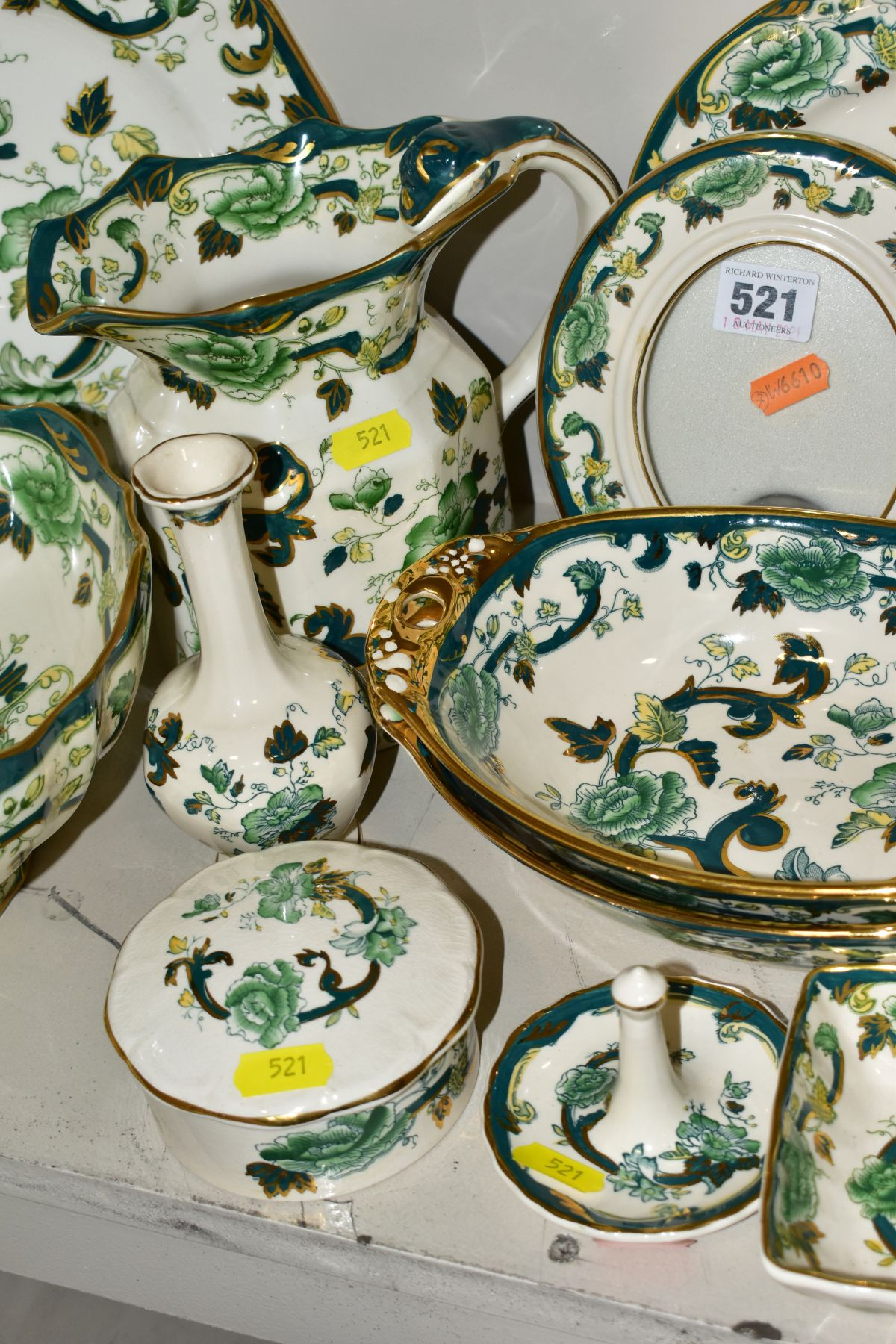 A COLLECTION OF MASONS IRONSTONE 'CHARTREUSE' PATTERN PLATES, JUGS, BOWLS, GINGER JARS, etc, - Image 3 of 7