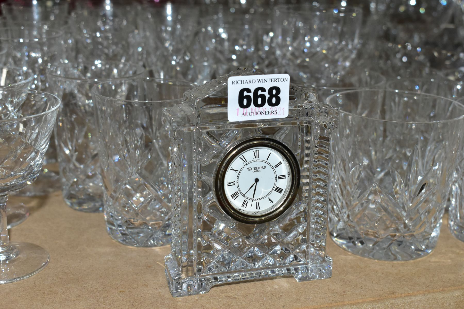 A QUANTITY OF GLASSWARE, including a Waterford Crystal quartz mantel clock, height 11cm, coloured - Image 3 of 9