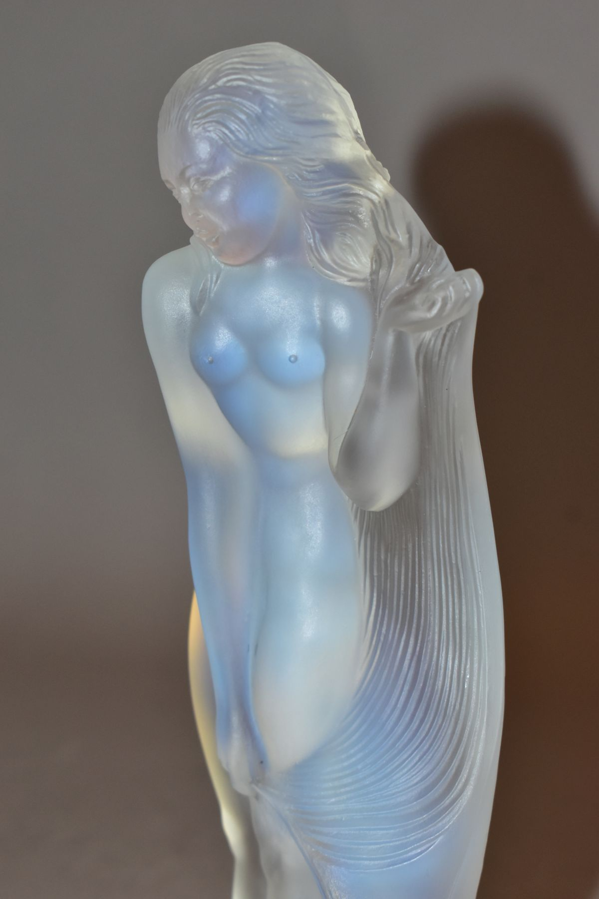 LUCILLE SEVIN - ETLING, an Art Deco style opalescent glass figure of a female nude with long flowing - Image 11 of 14
