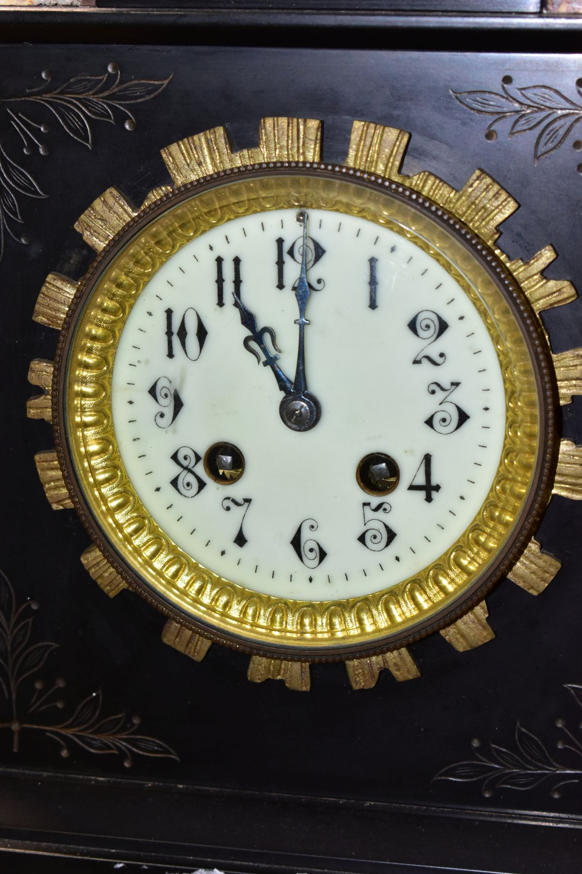 A LATE 19TH CENTURY BLACK SLATE, MARBLE AND GILT METAL CLOCK GARNITURE, the clock with urn shaped - Image 8 of 13