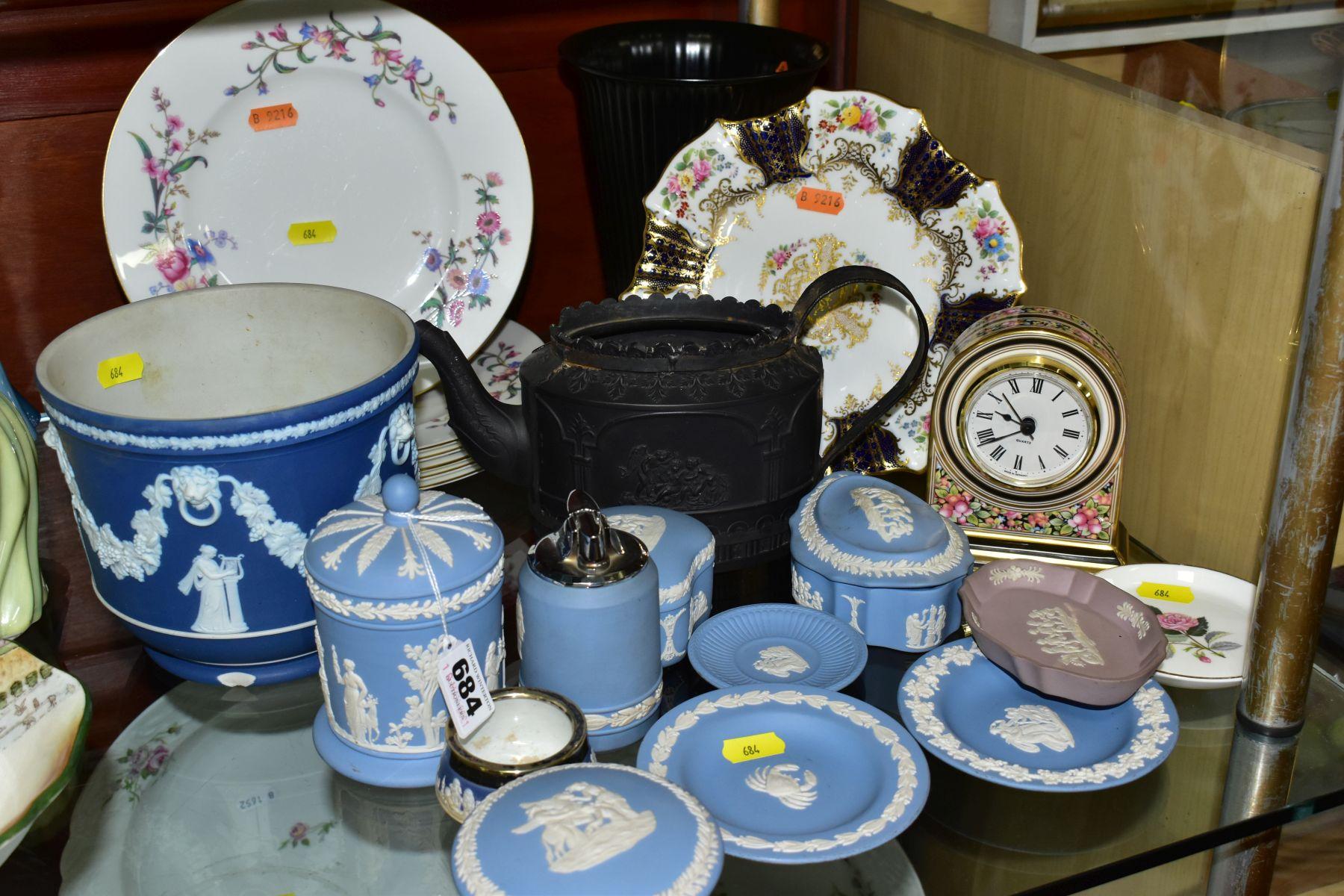 CERAMICS to include blue jasper ware trinkets, etc, Wedgwood Clio clock, black basalt teapot with
