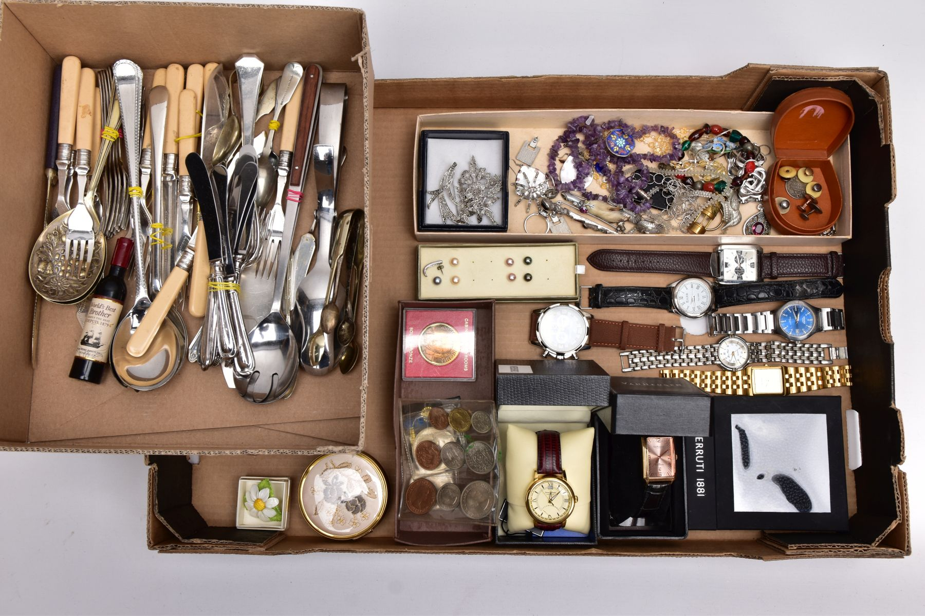 A BOX OF ASSORTED ITEMS AND A BOX OF CUTLERY, to include a variety of costume jewellery such as an