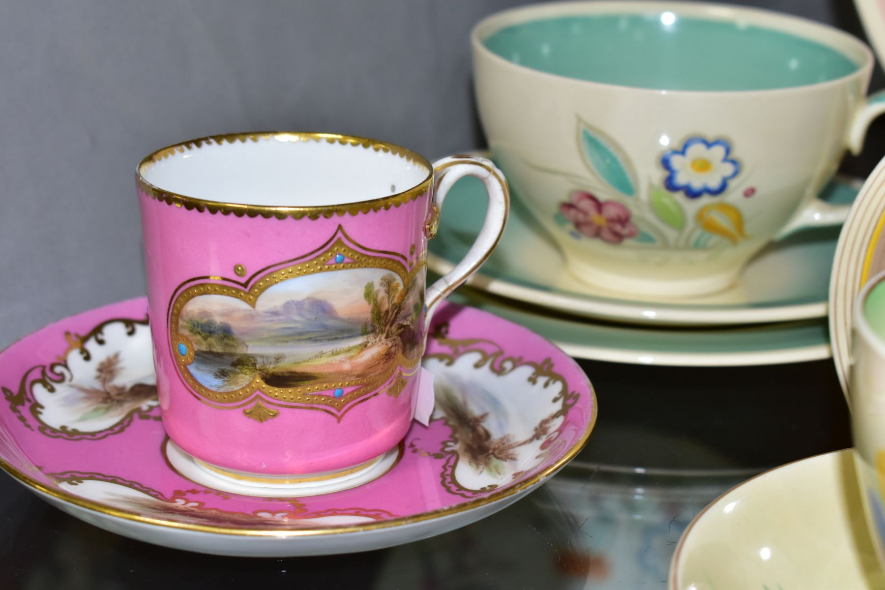 CLARICE CLIFF, comprising a Crocus pattern tea cup and saucer, backstamps for Royal Staffordshire - Image 7 of 10