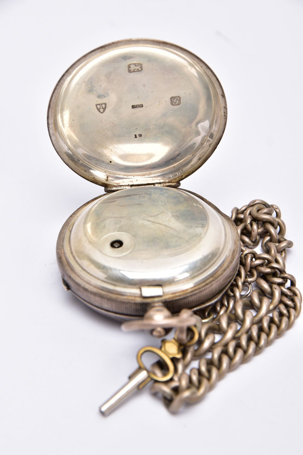 A SILVER OPEN FACED POCKET WITH ALBERT CHAIN, white dial signed 'The Empire', Roman numerals, - Image 4 of 5