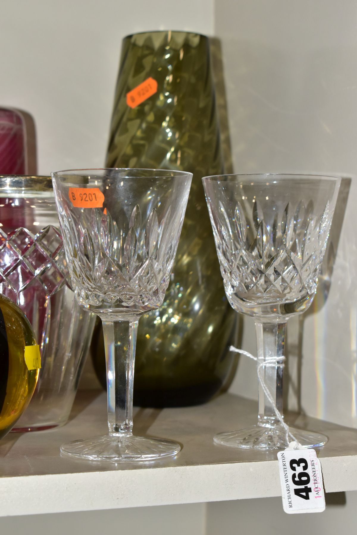 A GROUP OF CUT/COLOURED GLASSWARES, etc, to include a pair of Waterford crystal wines, a Stuart - Image 8 of 13
