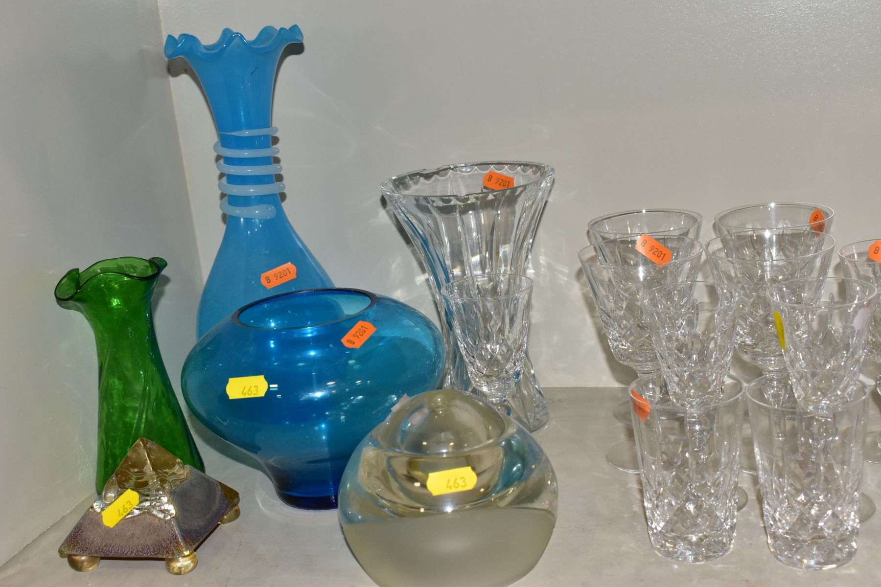 A GROUP OF CUT/COLOURED GLASSWARES, etc, to include a pair of Waterford crystal wines, a Stuart - Image 4 of 13