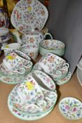 A MINTON 'HADDON HALL' PATTERN PART DINNER SERVICE, ETC, comprising teapot and cover, milk jug,