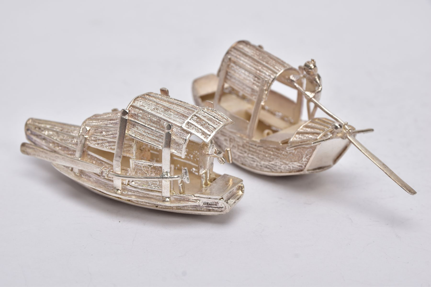 TWO MODERN ORIENTAL, WHITE METAL FILIGREE BOAT ORNAMENTS, one with a standing figure with paddle, - Image 6 of 8