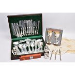 A COMPLETE CANTEEN OF CUTLERY, TWO GOBLETS, SIX NAPKIN RINGS AND A THREE PIECE CUTLERY SET, the