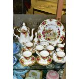 A ROYAL ALBERT OLD COUNTRY ROSES FIFTEEN PIECE COFFEE SERVICE, comprising coffee pot and cover,