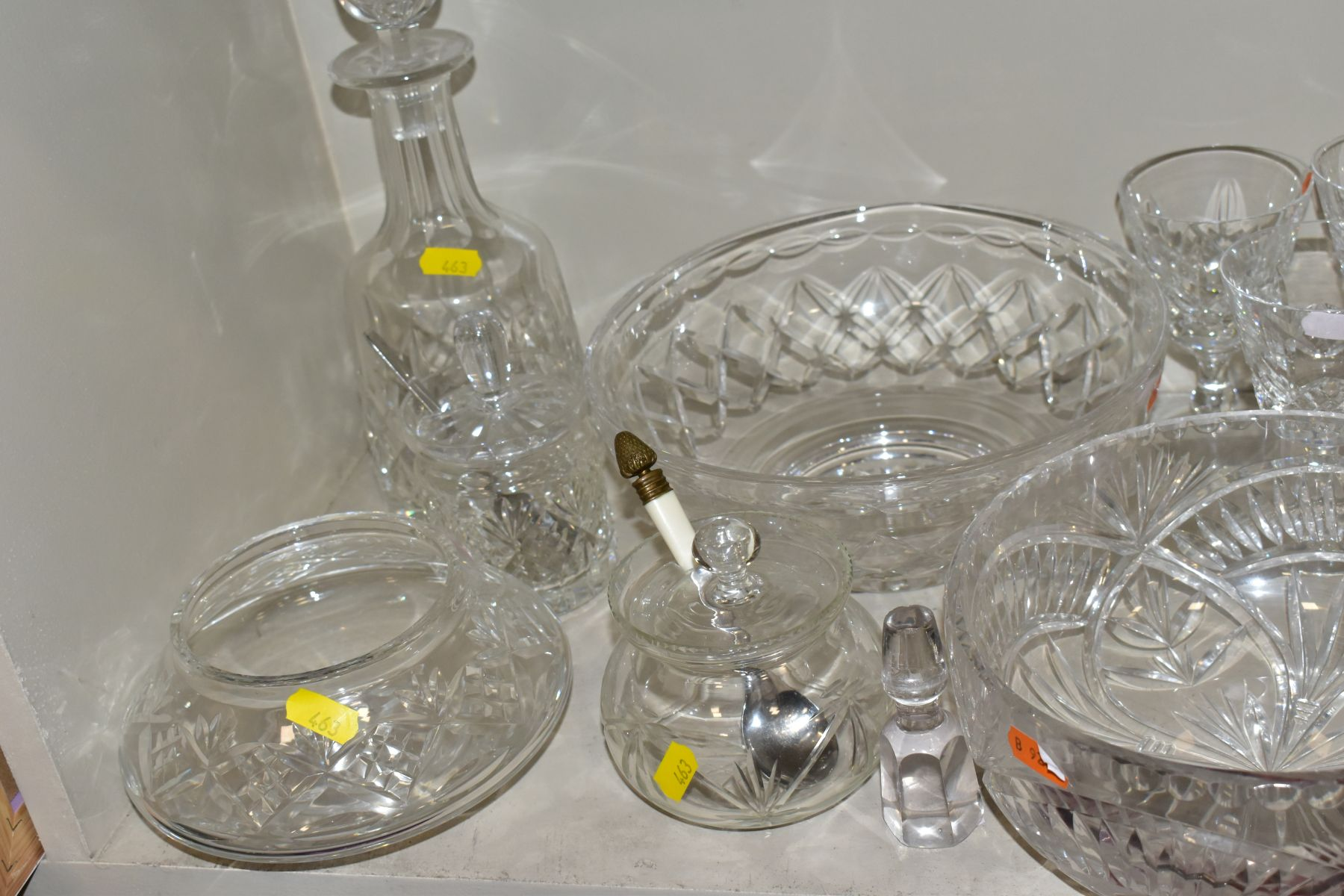 A GROUP OF CUT/COLOURED GLASSWARES, etc, to include a pair of Waterford crystal wines, a Stuart - Image 7 of 13