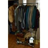 A COLLECTION OF GENTLEMENS CLOTHING AND ACCESSORIES AND A SMALL QUANTITY OF LADIES CLOTHING, ETC,