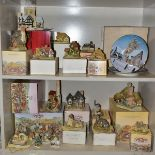 EIGHTEEN DAVID WINTER SCULPTURES AND TWO BOXED CABINET PLATES, mostly boxed and deeds except where