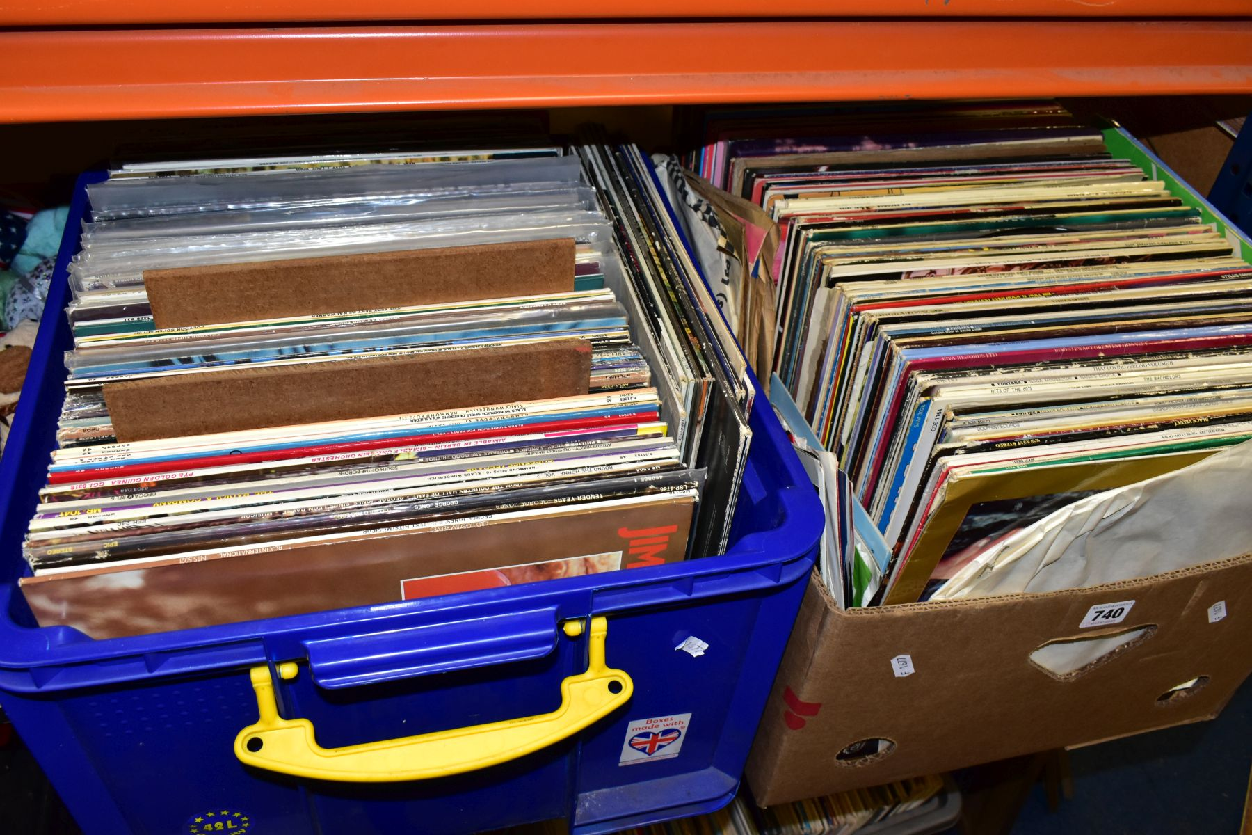 TWO TRAYS CONTAINING OVER ONE HUNDRED AND FIFTY LPS of mostly easy listening music including Shirley