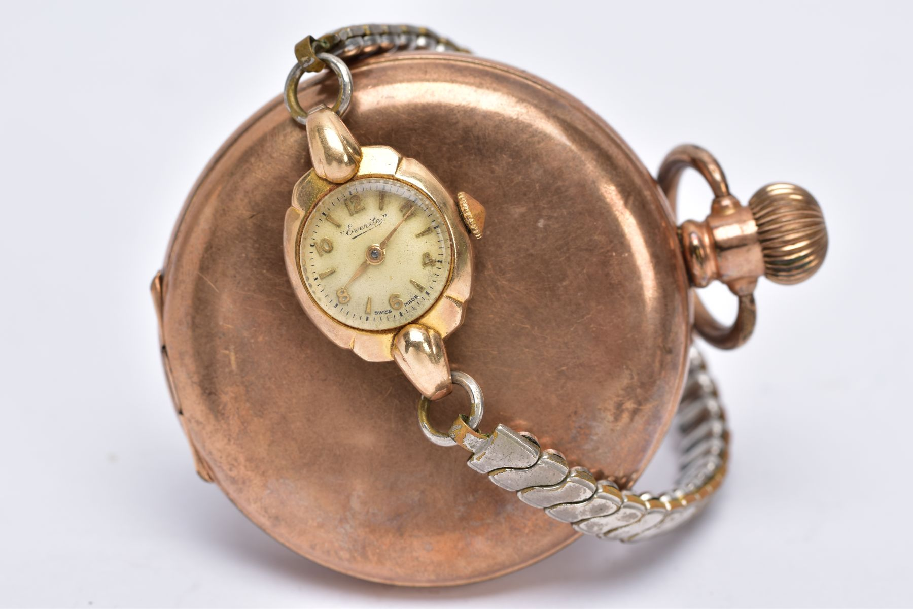 A LADIES 9CT GOLD CASED WRISTWATCH AND A GOLD PLATED POCKET WATCH, the ladies wristwatch with a - Image 2 of 5