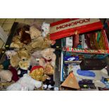 FOUR BOXES OF SOFT TOYS, BOARD GAMES, DIE CAST VEHICLES, including St.Giles Hospice and other bears,