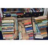FIVE BOXES OF BOOKS, hardbacks and paperbacks, subjects include cookery, history, Puffin and Pelican