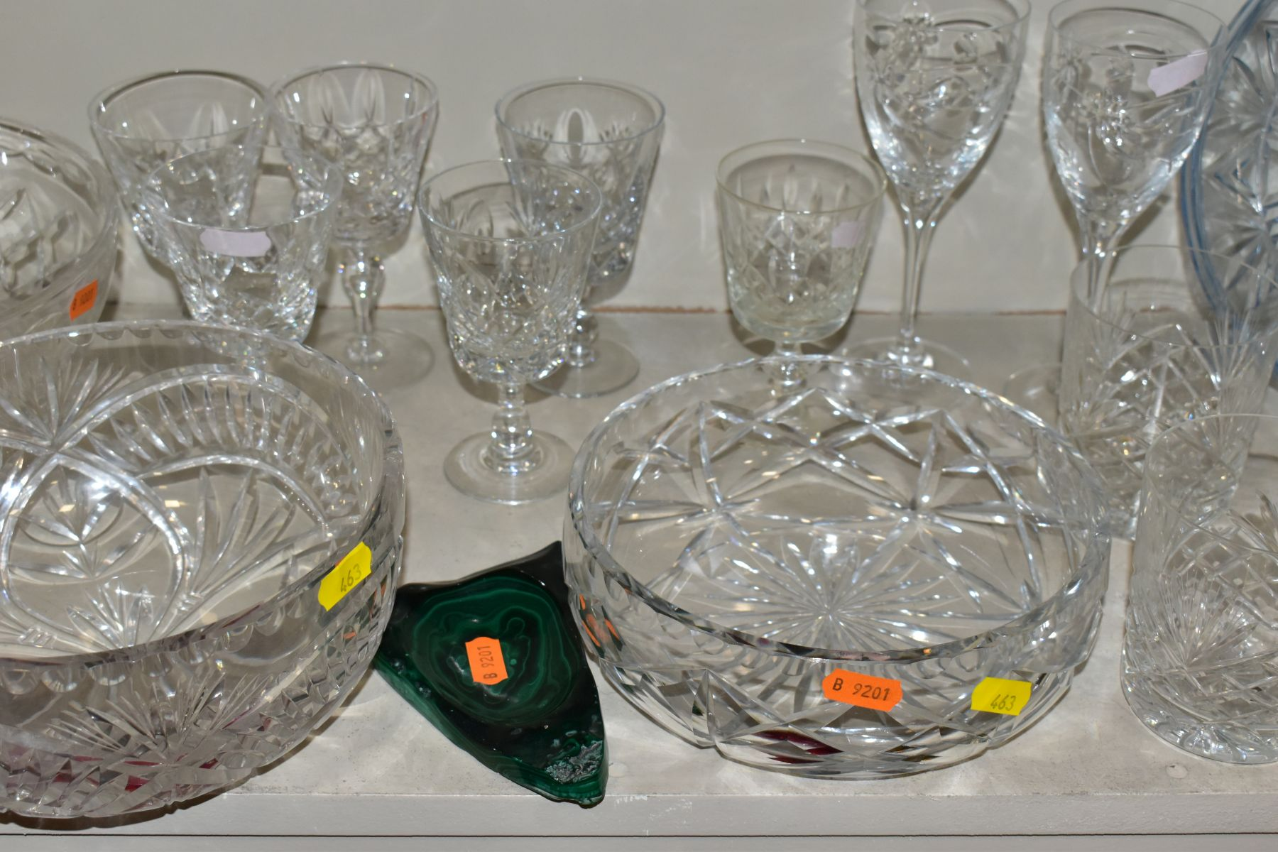 A GROUP OF CUT/COLOURED GLASSWARES, etc, to include a pair of Waterford crystal wines, a Stuart - Image 6 of 13