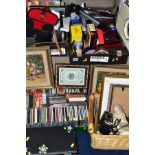 THREE BOXES AND A BASKET OF SUNDRY ITEMS, to include Bush retro style radio, a Goodmans DAB radio,