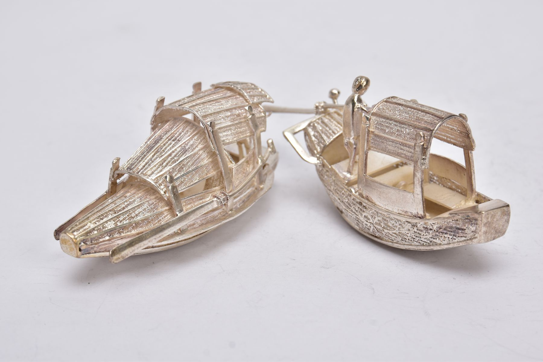 TWO MODERN ORIENTAL, WHITE METAL FILIGREE BOAT ORNAMENTS, one with a standing figure with paddle, - Image 4 of 8