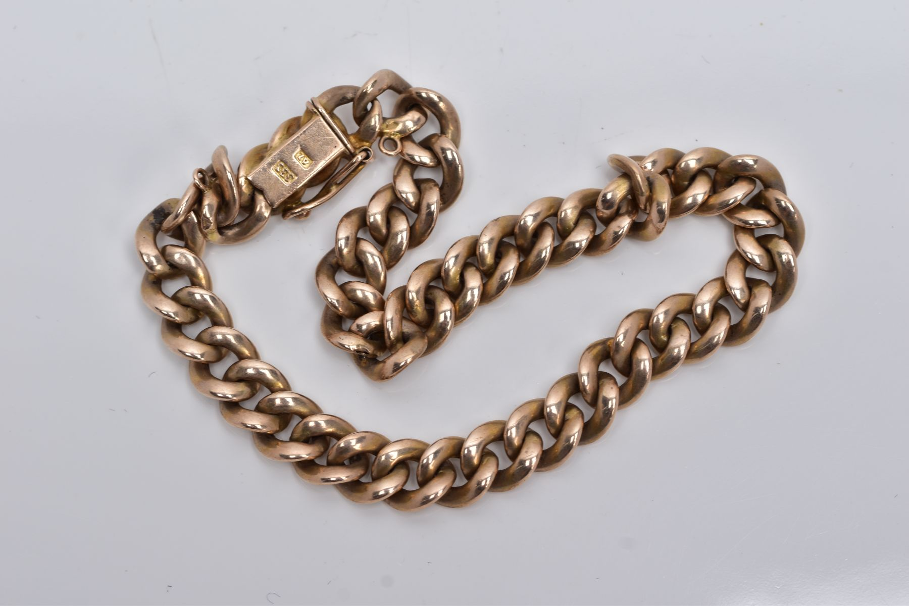 A HOLLOW CURB LINK BRACELET, measuring approximately 210mm in length, fitted to an integral box - Image 2 of 2