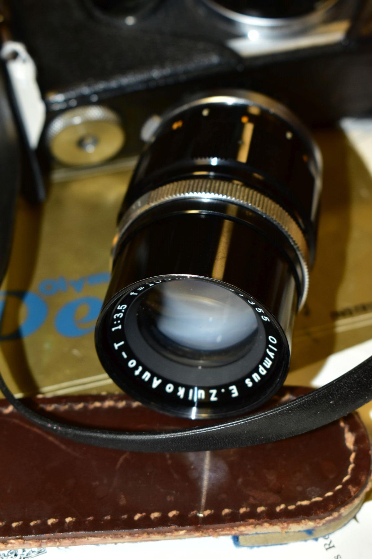 AN ORIGINAL OLYMPUS F HALF FRAME FILM CAMERA fitted with a 38mm f1.8 Olympus Zuiko lens and F T - Image 4 of 11