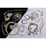 A BAG OF ASSORTED WHITE METAL JEWELLERY, to include a white metal bangle stamped '925', a white