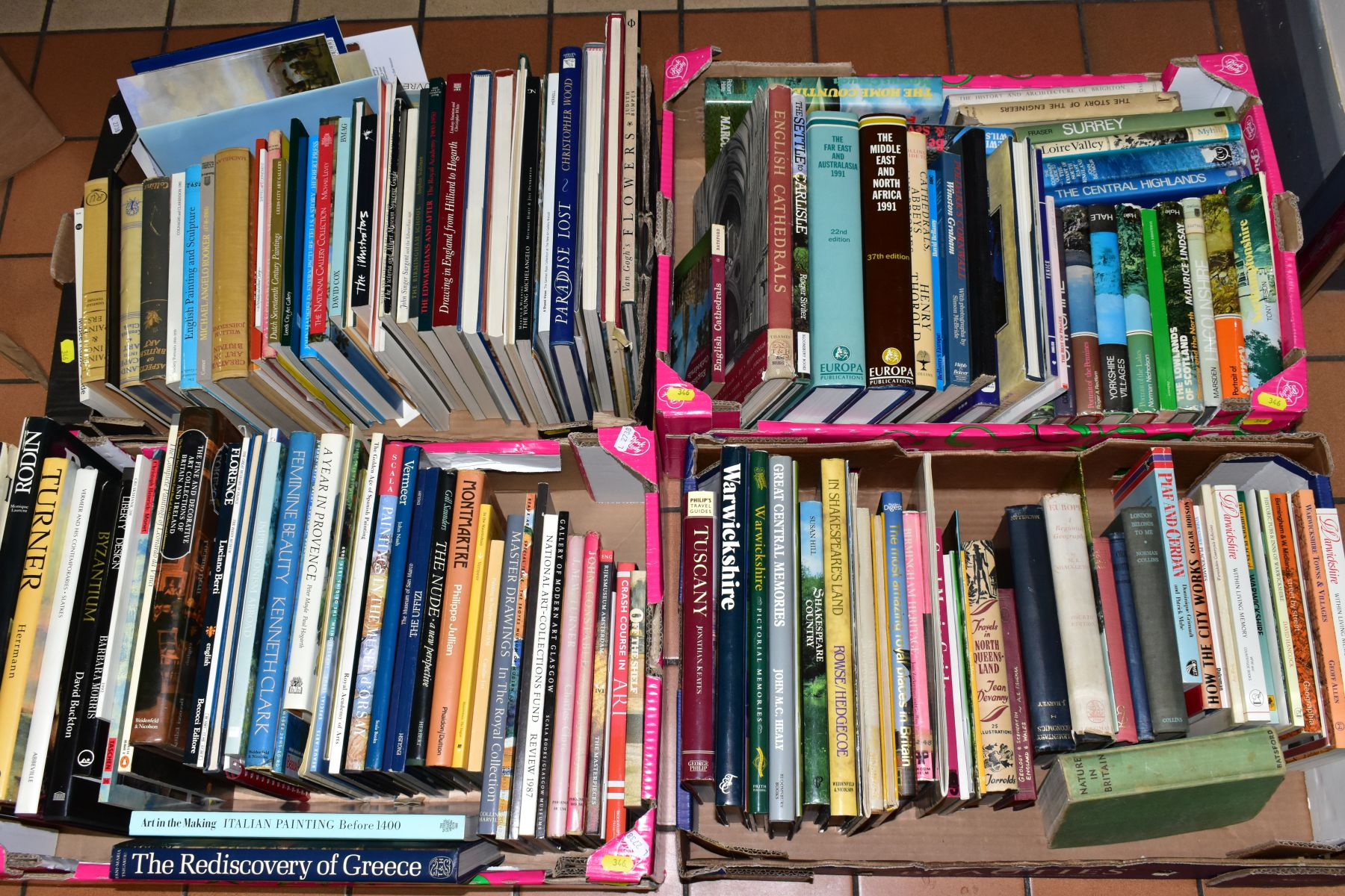 FOUR BOXES OF BOOKS INCLUDING ART AND TRAVEL INTEREST, titles include 'Master Drawings In The