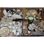 SIX BOXES AND LOOSE OF ASSORTED CERAMICS, including Beswick 1068 Palm Tree jug, Prinknash tankard,