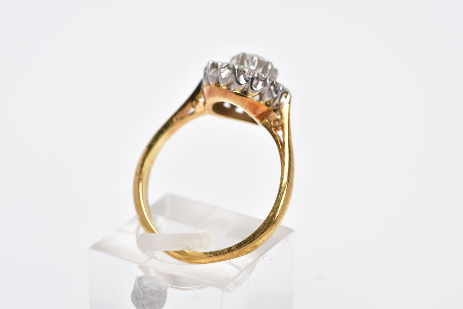 A LATE 20TH CENTURY ROUND DIAMOND CLUSTER RING, centring on a modern round brilliant cut diamond, - Image 3 of 5