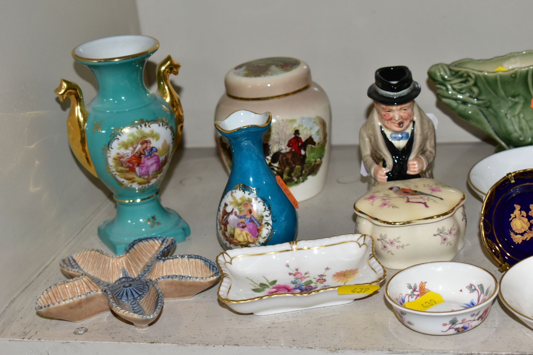 A GROUP OF CERAMIC FIGURES AND ORNAMENTS, including Capo Di Monte tramp on a bench, elderly - Image 6 of 16