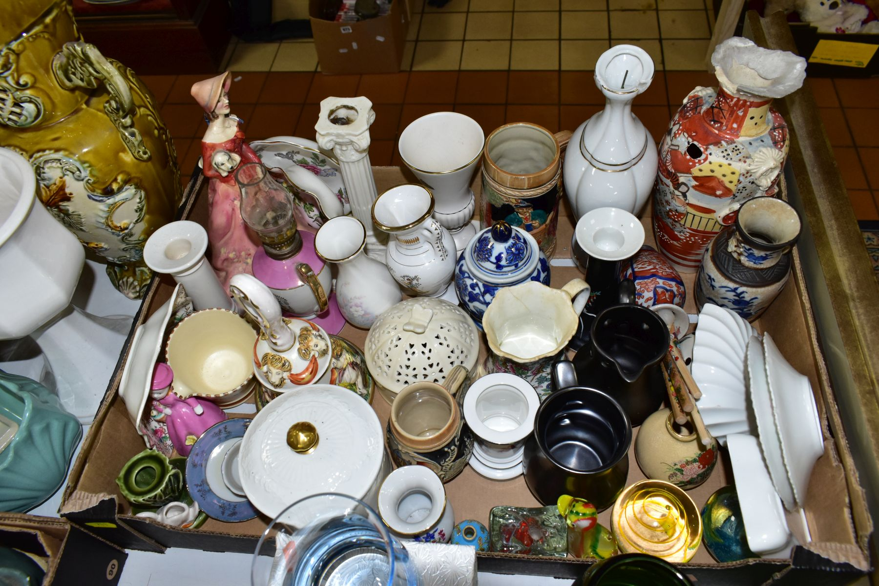 TWO BOXES AND LOOSE CERAMICS AND GLASSWARE, including animal bird and figural ornaments, two - Image 7 of 10