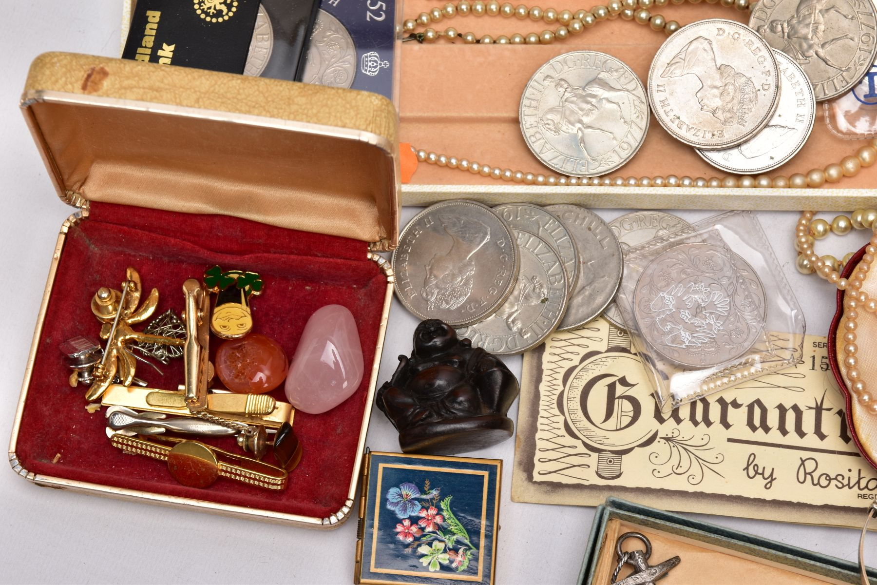A BOX OF ASSORTED ITEMS, to include a mid-19th Century silver brooch in the form of an anchor and - Image 3 of 3