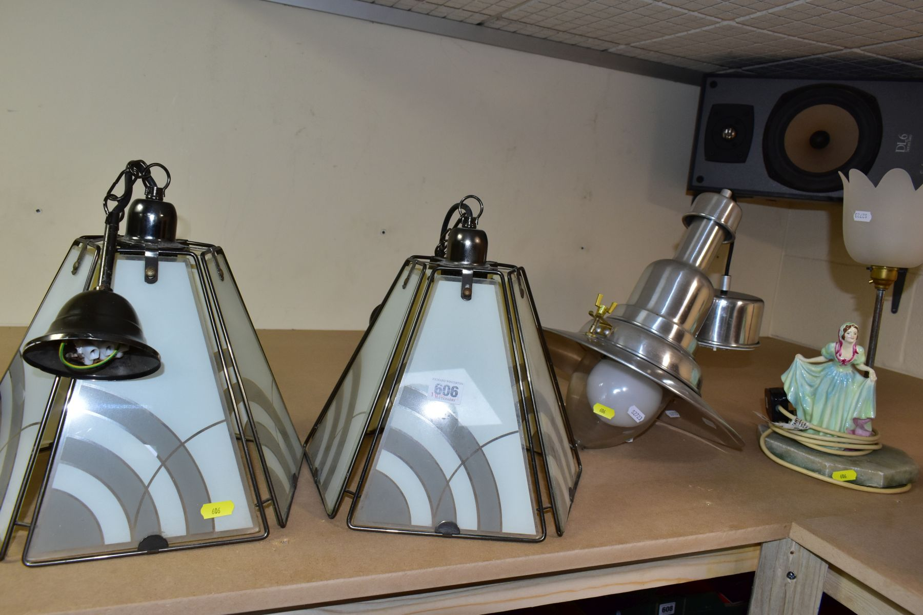 CEILING LIGHTS AND TABLE LAMP comprising a pair of pyramid shaped lamps with glass panels,