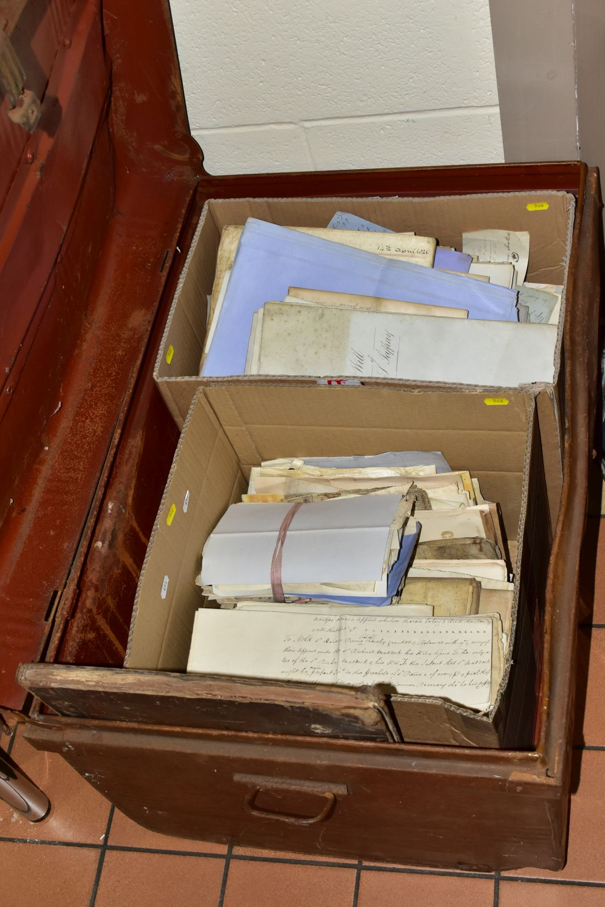 INDENTURES, a large metal trunk containing two boxes of several hundred Indentures, Conveyances,
