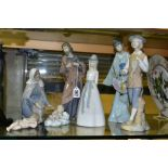 A GROUP OF SEVEN NAO, MIQUEL REQUENA AND OTHER SPANISH FIGURINES, including a Nao three piece