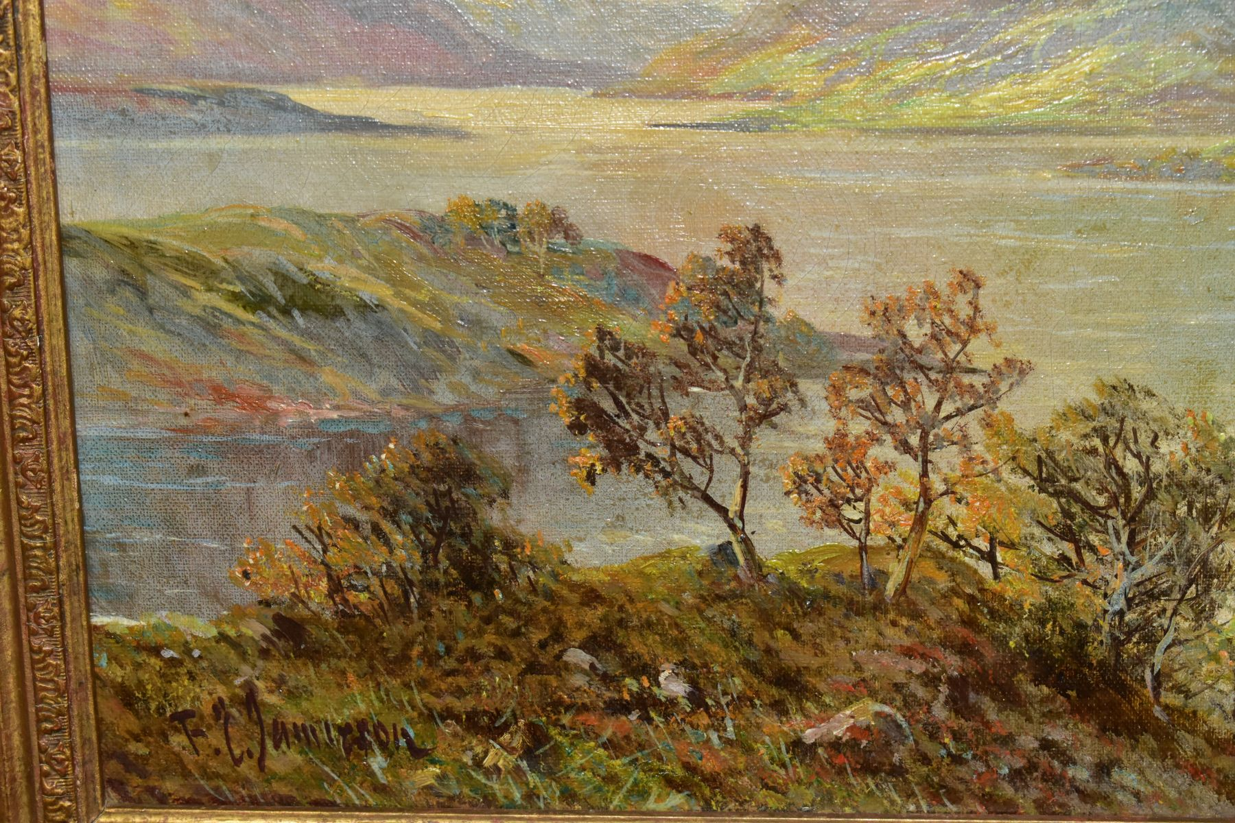 FRANCIS E.JAMIESON (1895-1950) 'LOCH KATRINE', a Scottish landscape, a large body of water to the - Image 3 of 4