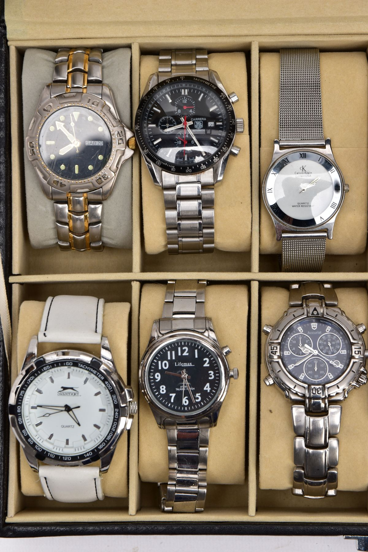 A WATCH DISPLAY CASE WITH WATCHES, a black and glass panelled watch display case with twelve watches - Image 3 of 4