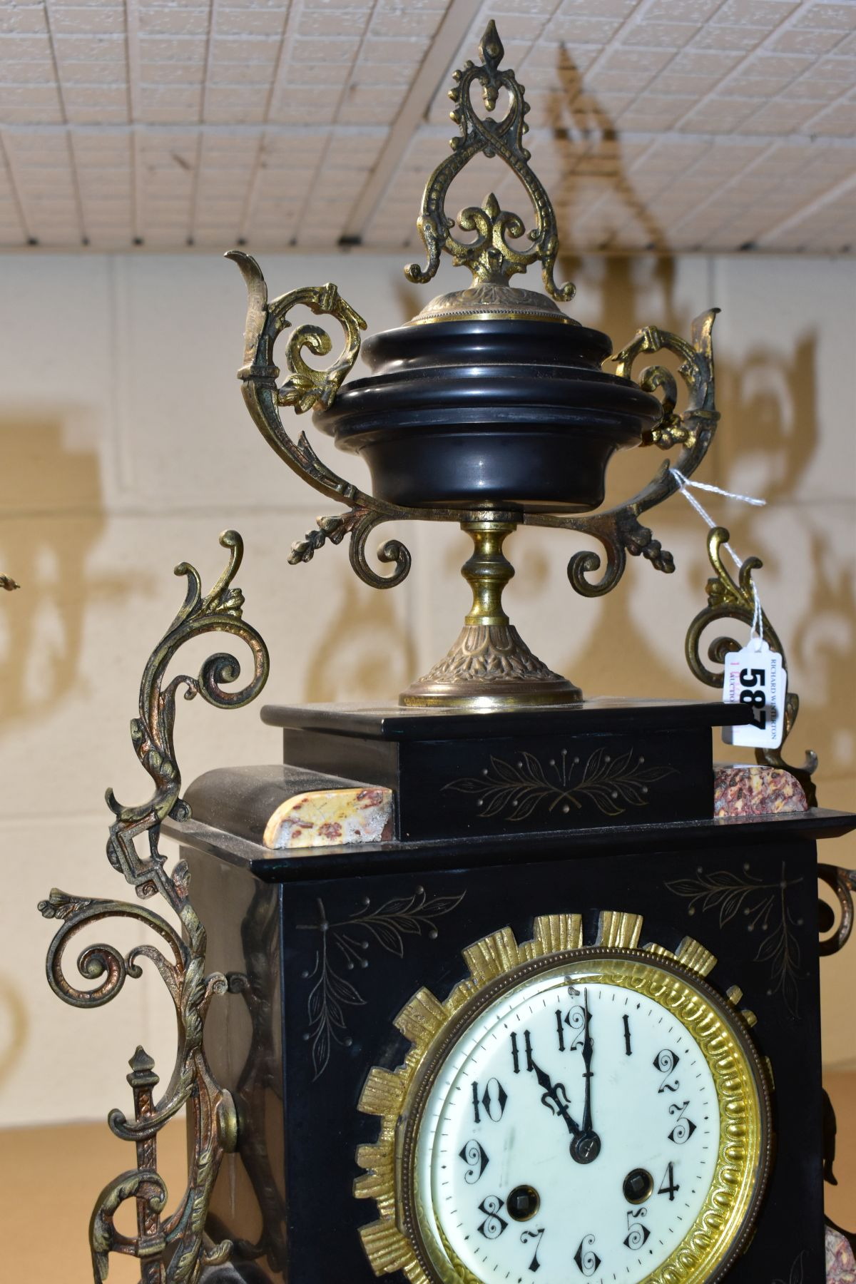 A LATE 19TH CENTURY BLACK SLATE, MARBLE AND GILT METAL CLOCK GARNITURE, the clock with urn shaped - Image 13 of 13