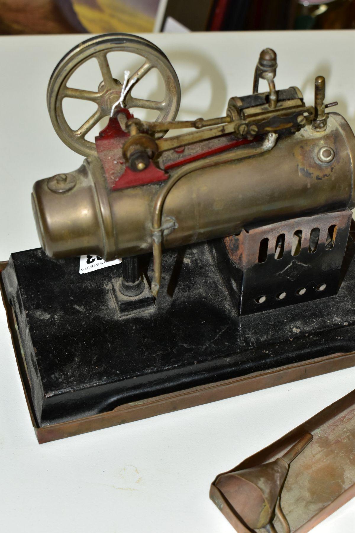 A BING HORIZONTAL LIVE STEAM ENGINE, not tested, horizontal boiler powering a flywheel (diameter - Image 4 of 6