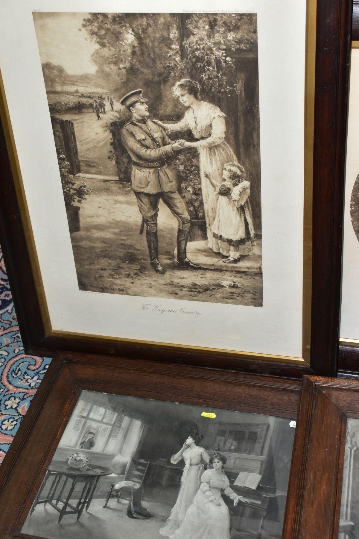 EARLY 20TH CENTURY OAK FRAMED MONOCHROME PRINTS, comprising 'For King and Country' by Graham - Image 3 of 4