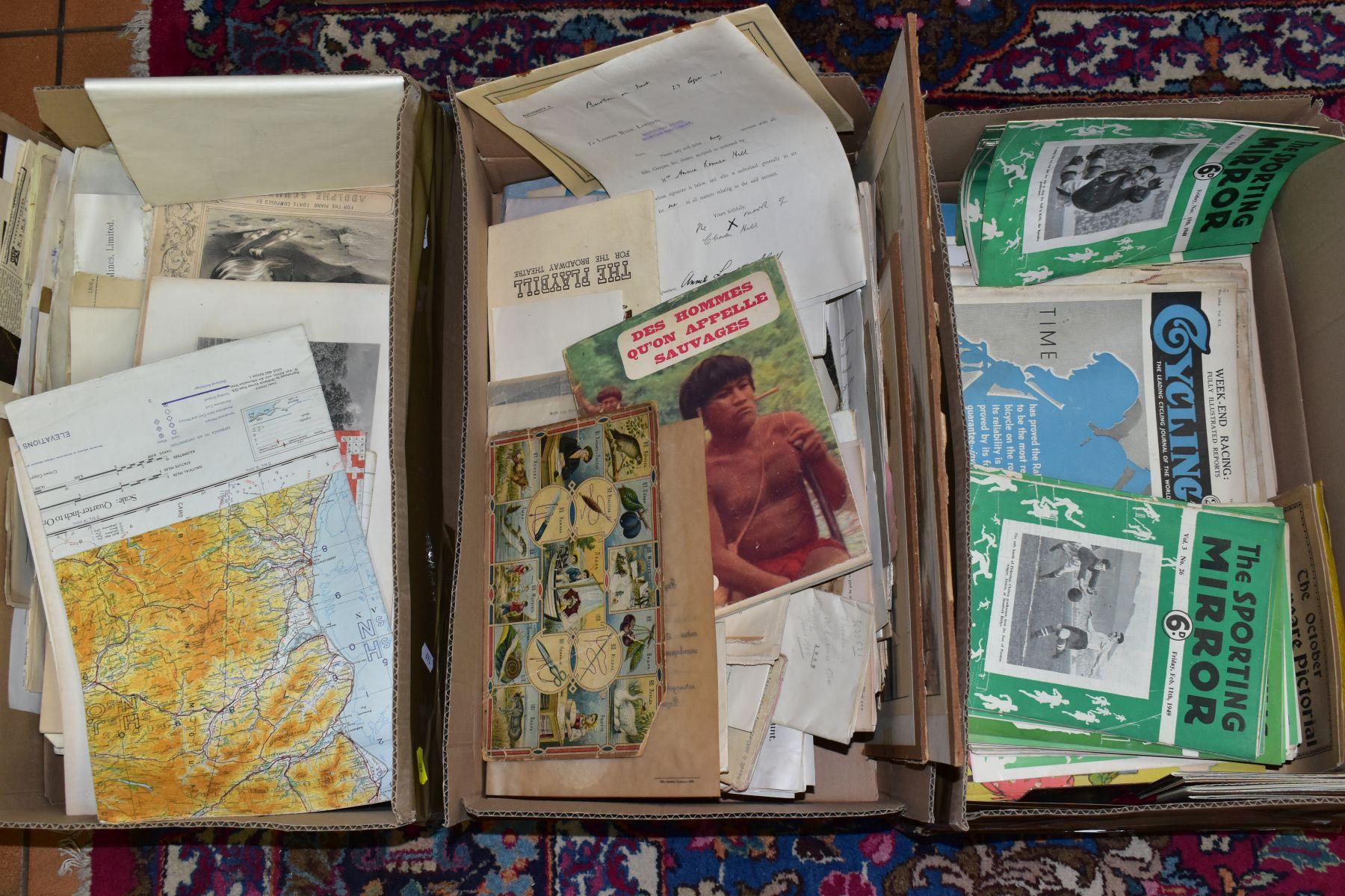 EPHEMERA, THREE BOXES OF PAPER EPHEMERA, to include newspapers/cuttings, maps, indentures,
