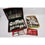 CUTLERY ITEMS, to include a wooden cased canteen of metal/silverplated Arthur Price of England