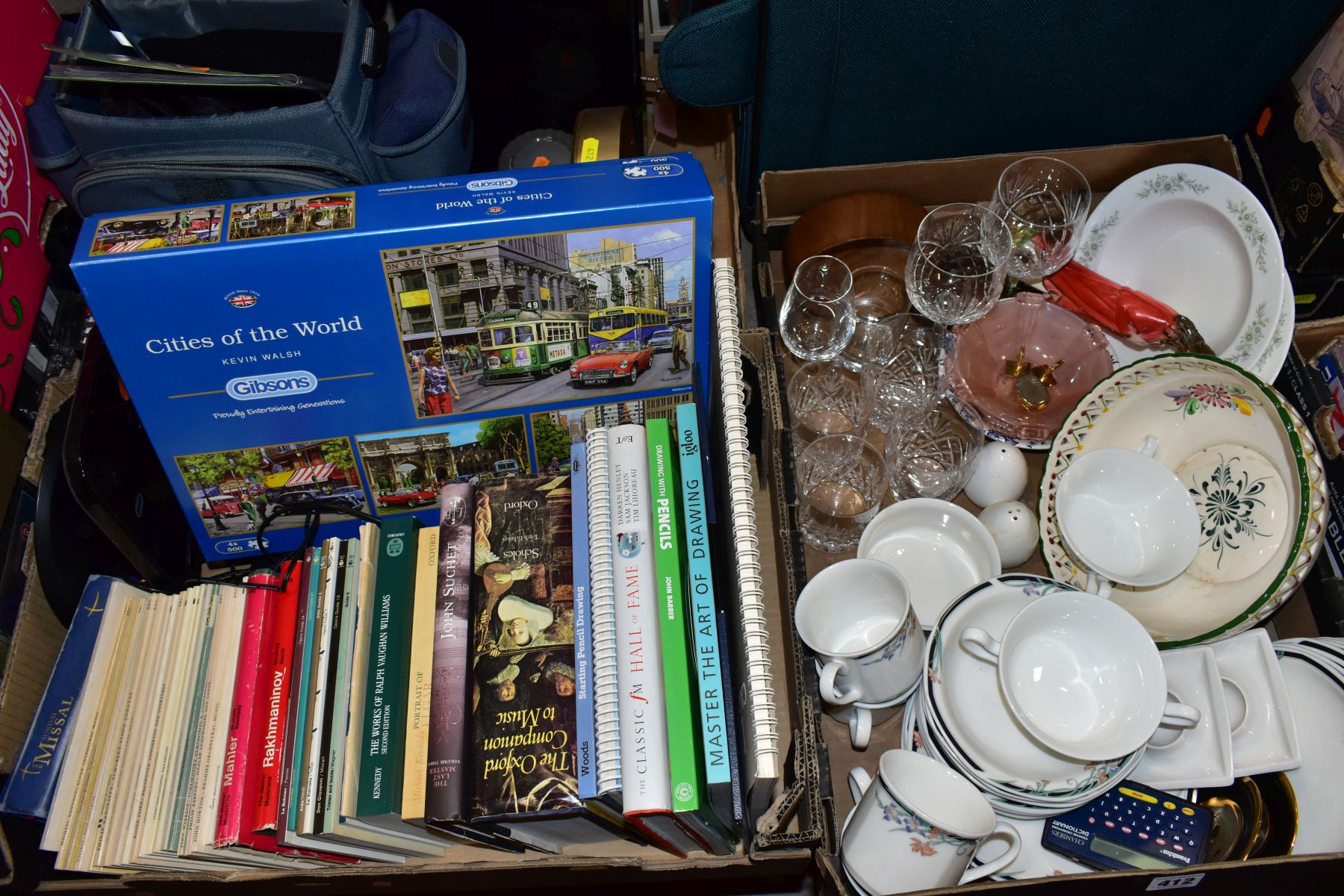 THREE BOXES AND LOOSE CERAMICS, GLASS, BOOKS, CD'S, A SUITCASE, ETC, including Royal Doulton Juno