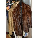 A SMALL QUANTITY OF LADIES COATS AND CLOTHES, INCLUDING FURS, comprising a brown fur coat,