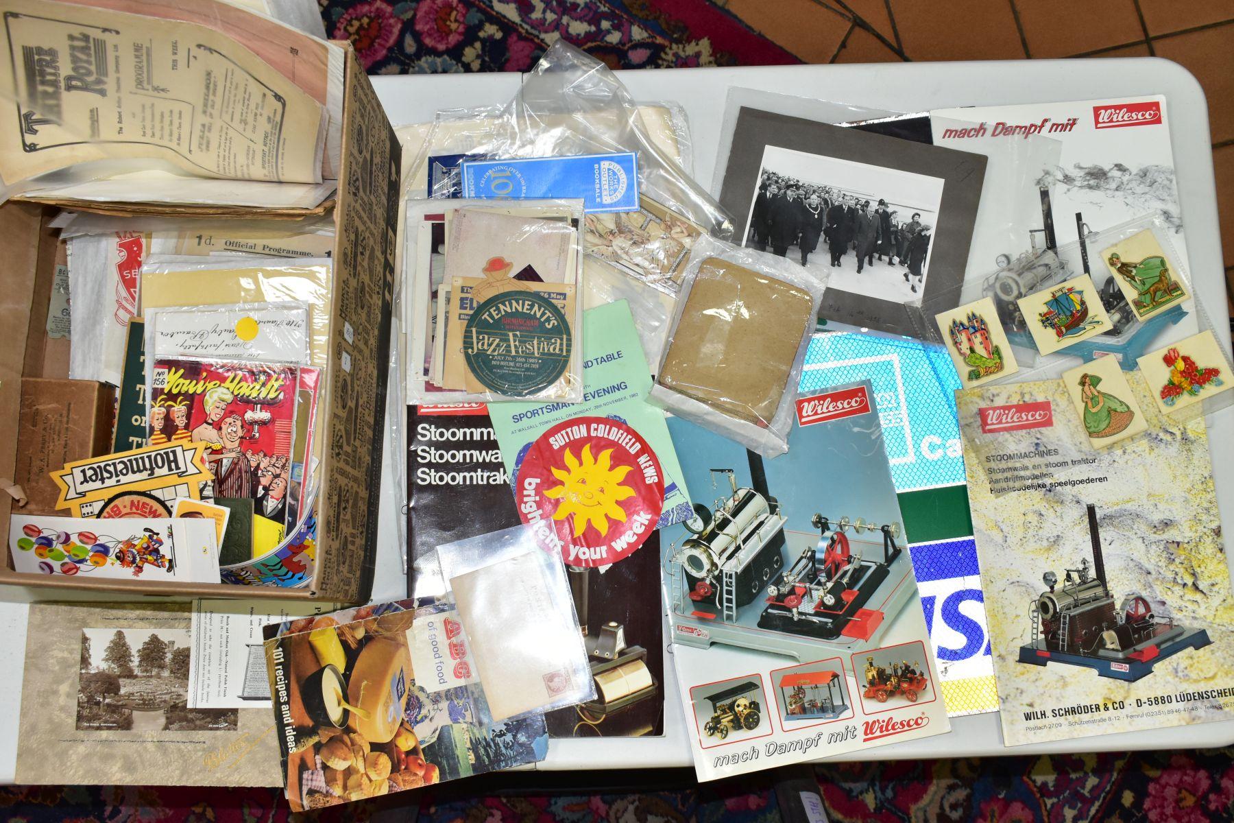 EPHEMERA, three boxes of ephemera, box one includes books, programmes, horse racing passes, Aston - Image 7 of 7