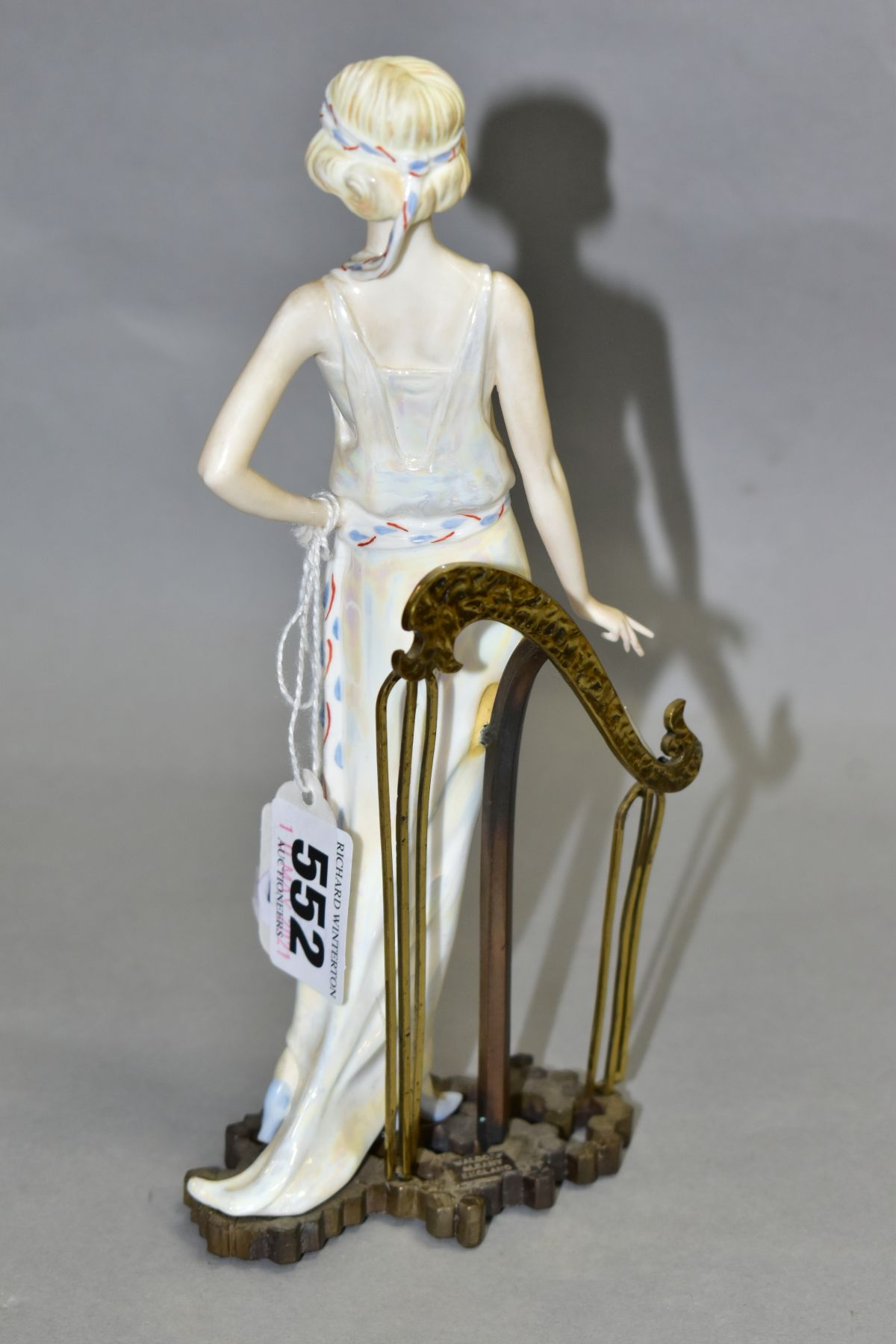AN ALBANY BONE CHINA AND BRONZED 1920's FIGURINE, 'Waldorf', impressed mark to base, height 20cm ( - Image 3 of 6